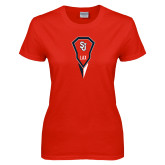 Ladies Red T Shirt-Modern Lacrosse Stick