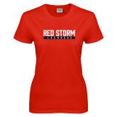Ladies Red T Shirt-Lacrosse Bar Design