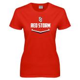 Ladies Red T Shirt-Baseball Plate Design