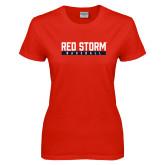 Ladies Red T Shirt-Baseball Bar Design