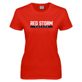 Ladies Red T Shirt-Soccer Bar Design