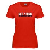 Ladies Red T Shirt-Volleyball Bar Design