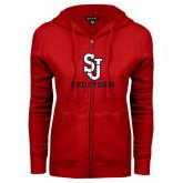ENZA Ladies Red Fleece Full Zip Hoodie-SJ Redstorm Stacked