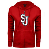 ENZA Ladies Red Fleece Full Zip Hoodie-SJ