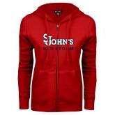 ENZA Ladies Red Fleece Full Zip Hoodie-St Johns Red Storm