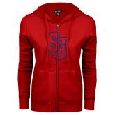 ENZA Ladies Red Fleece Full Zip Hoodie-SJ Dark Blue Glitter