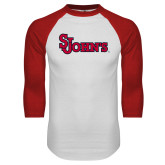 White/Red Raglan Baseball T Shirt-St Johns
