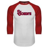 White/Red Raglan Baseball T Shirt-St Johns