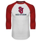 White/Red Raglan Baseball T Shirt-SJ Redstorm Stacked