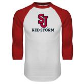White/Red Raglan Baseball T Shirt-SJ Redstorm Stacked