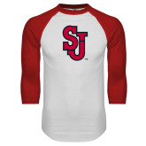 White/Red Raglan Baseball T Shirt-SJ