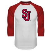 White/Red Raglan Baseball T Shirt-SJ