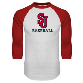 White/Red Raglan Baseball T Shirt-Baseball