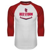 White/Red Raglan Baseball T Shirt-Baseball Plate Design