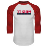 White/Red Raglan Baseball T Shirt-Baseball Bar Design