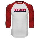 White/Red Raglan Baseball T Shirt-Baseball Bar Design
