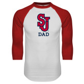 White/Red Raglan Baseball T Shirt-Dad