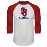 White/Red Raglan Baseball T Shirt-Alumni