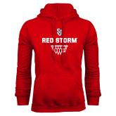 Red Fleece Hoodie-Basketball Sharp Net Design