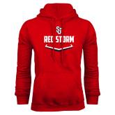 Red Fleece Hoodie-Baseball Plate Design