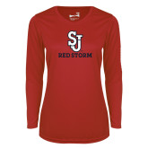 Ladies Syntrel Performance Red Longsleeve Shirt-SJ Redstorm Stacked