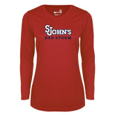 Ladies Syntrel Performance Red Longsleeve Shirt-St Johns Red Storm