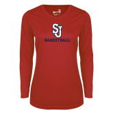 Ladies Syntrel Performance Red Longsleeve Shirt-Basketball
