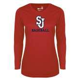 Ladies Syntrel Performance Red Longsleeve Shirt-Baseball