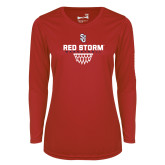 Ladies Syntrel Performance Red Longsleeve Shirt-Basketball Sharp Net Design