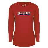 Ladies Syntrel Performance Red Longsleeve Shirt-Basketball Bar Design