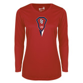 Ladies Syntrel Performance Red Longsleeve Shirt-Modern Lacrosse Stick