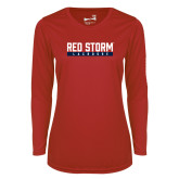 Ladies Syntrel Performance Red Longsleeve Shirt-Lacrosse Bar Design