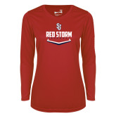 Ladies Syntrel Performance Red Longsleeve Shirt-Baseball Plate Design