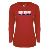 Ladies Syntrel Performance Red Longsleeve Shirt-Baseball Bar Design