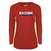 Ladies Syntrel Performance Red Longsleeve Shirt-Volleyball Bar Design