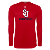 Under Armour Red Long Sleeve Tech Tee-SJ Redstorm Stacked