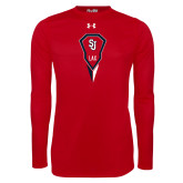 Under Armour Red Long Sleeve Tech Tee-Modern Lacrosse Stick