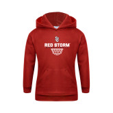 Youth Red Fleece Hoodie-Basketball Sharp Net Design