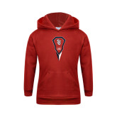 Youth Red Fleece Hoodie-Modern Lacrosse Stick