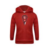 Youth Red Fleece Hoodie-Modern Lacrosse Stick