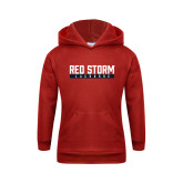 Youth Red Fleece Hoodie-Lacrosse Bar Design