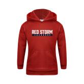 Youth Red Fleece Hoodie-Lacrosse Bar Design