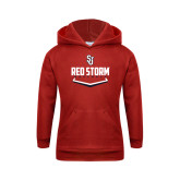 Youth Red Fleece Hoodie-Baseball Plate Design