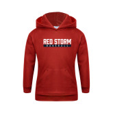 Youth Red Fleece Hoodie-Baseball Bar Design