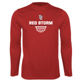 Syntrel Performance Red Longsleeve Shirt-Basketball Sharp Net Design