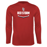 Syntrel Performance Red Longsleeve Shirt-Baseball Plate Design