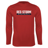 Syntrel Performance Red Longsleeve Shirt-Baseball Bar Design