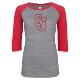 ENZA Ladies Athletic Heather/Red Vintage Triblend Baseball Tee-SJ Red Glitter