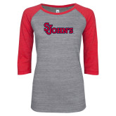 ENZA Ladies Athletic Heather/Red Vintage Baseball Tee-St Johns