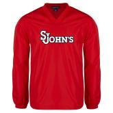V Neck Red Raglan Windshirt-St Johns